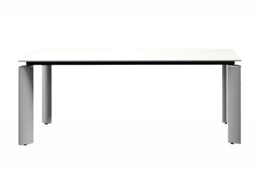 Crystal glass executive desk white top front angle