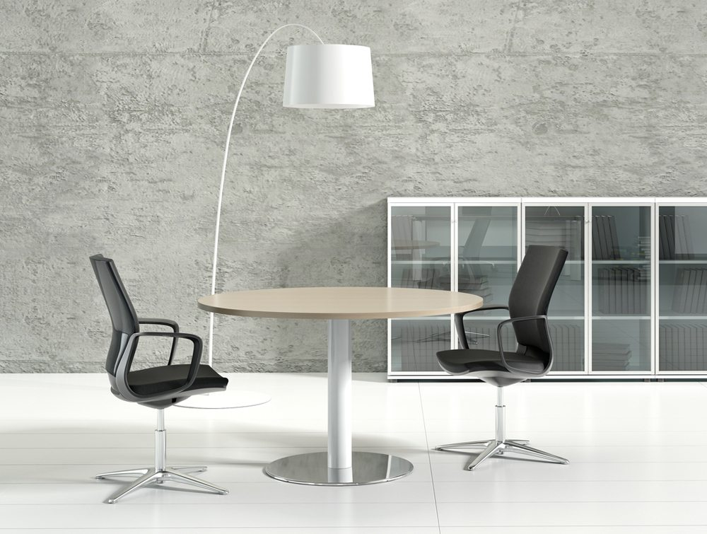 Crystal glass executive desk white top side angle