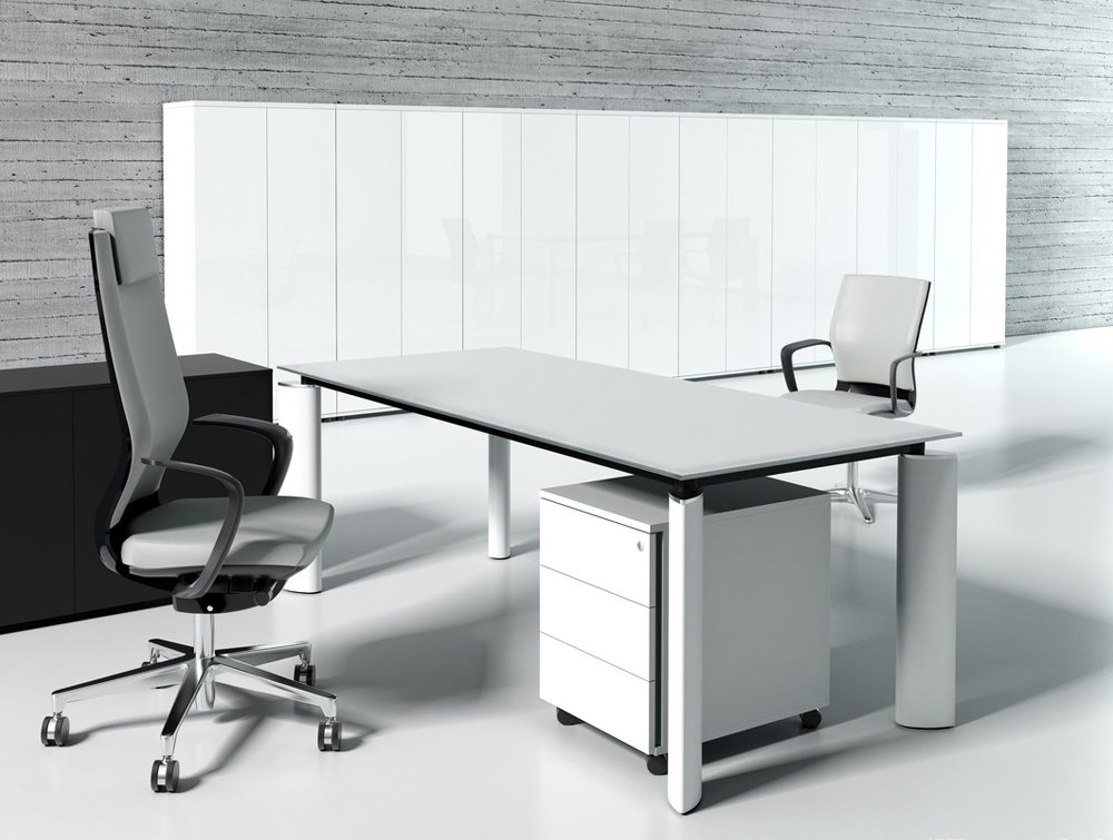 Crystal glass executive desk white top office view