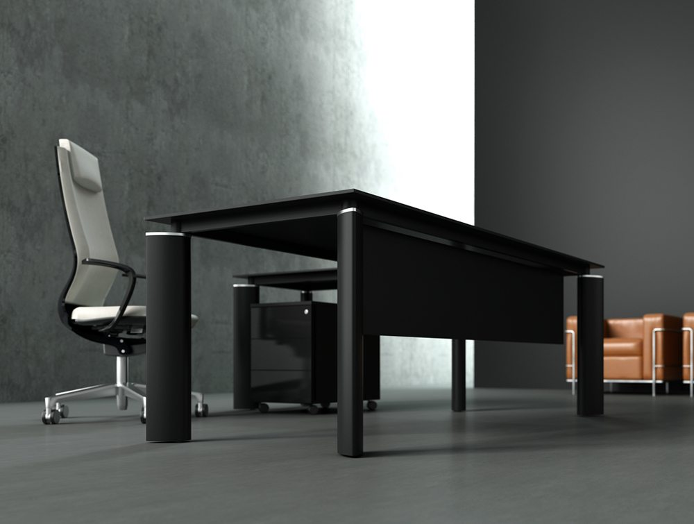 Crystal glass executive desk black top view below