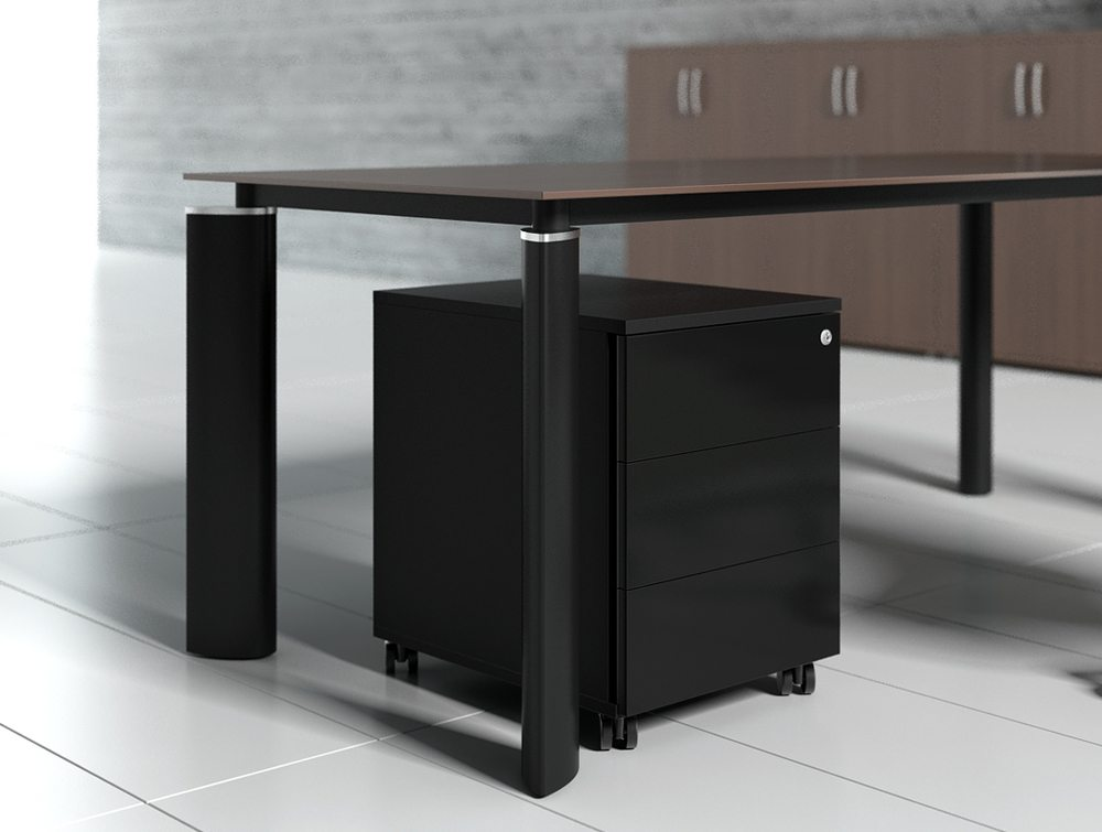 Crystal glass executive desk black top