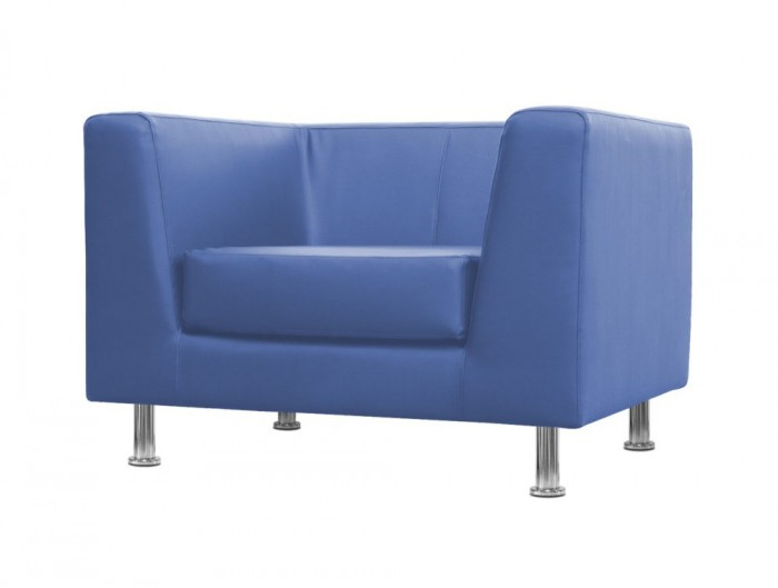 Cube Box Armchair Sofa Range Single in Blue with Polished Chrome Feet and Anti-Scratched Floor Pod