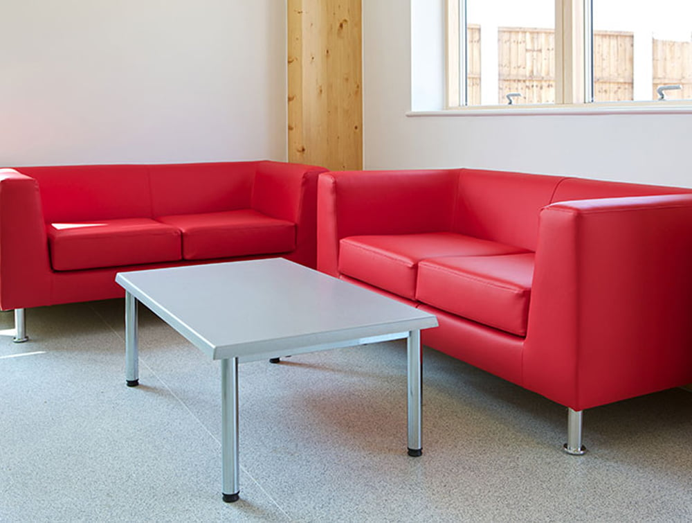 Cube Box Armchair Sofa Red 2 seaters with Table for Waiting Room Area