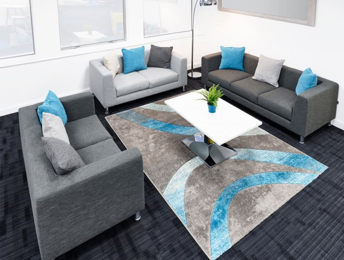 Cube Box Armchair Sofa in Grey with Cushions Carpet and Table Breakout Area