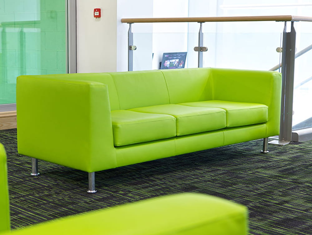 Cube Box Three Seaters Armchair Sofa Green in Reception Area