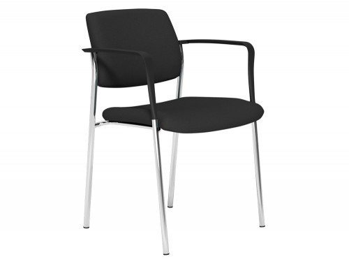 Cube Legged Stacking Chair Arms in E001 Black and Chrome Base