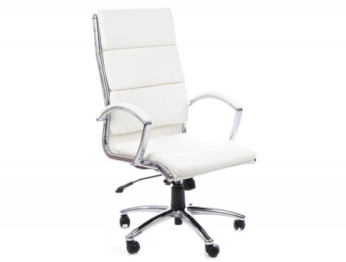 Dynamic classic executive chair high back in white leather