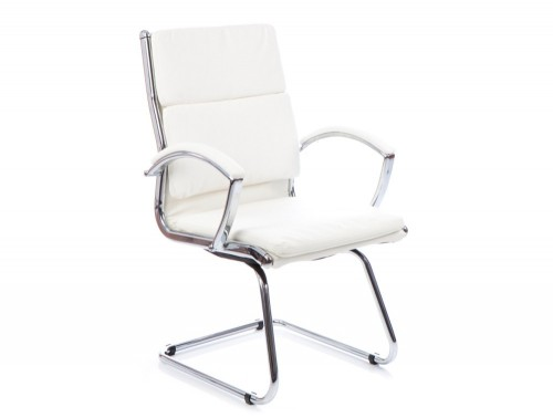 Dynamic classic cantilever chair in white leather