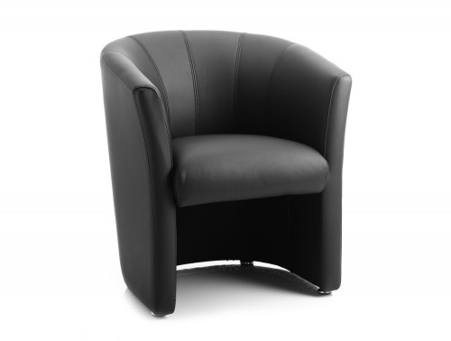 Dynamic neo reception single tub chair in black leather