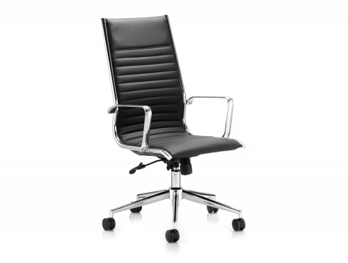 Dynamic ritz executive high back chair in black leather