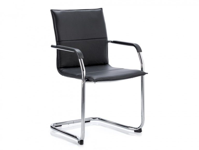 Dynamic echo stackable cantilever chair in black leather