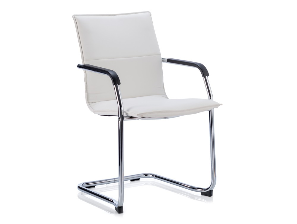 Dynamic echo stackable cantilever chair in white leather
