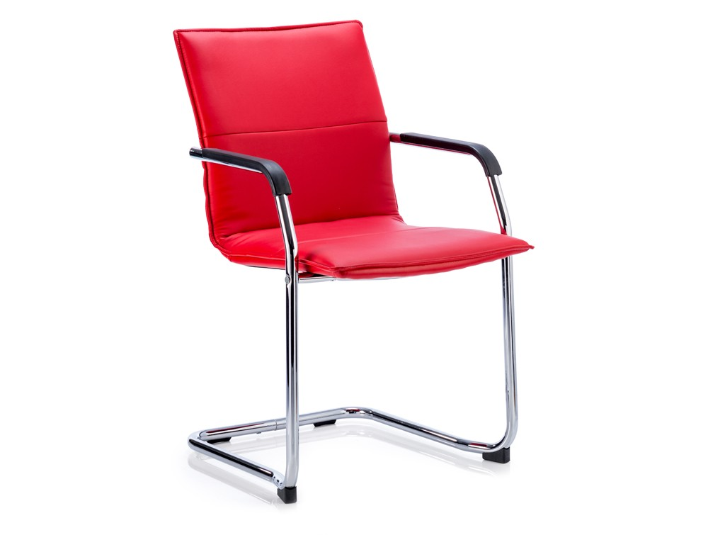 Dynamic echo stackable cantilever chair in red leather
