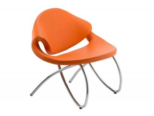 Dynamic beau padded reception orange chair with chrome leg