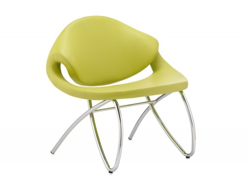 Dynamic beau padded reception green chair with chrome leg