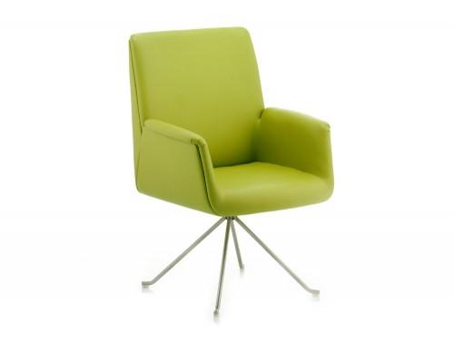 Dynamic denton stylish reception chair in green leather