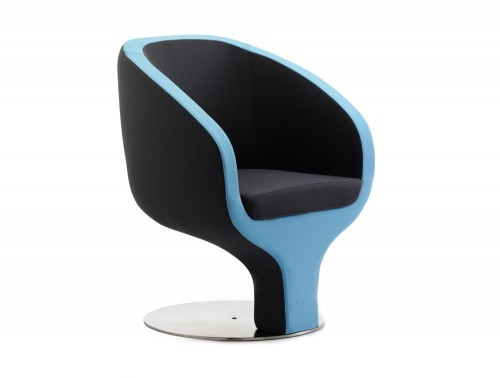 Dynamic tulip tub chair in black and blue fabric