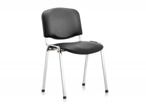 Dynamic ISO black vinyl stackable chair with chrome legs