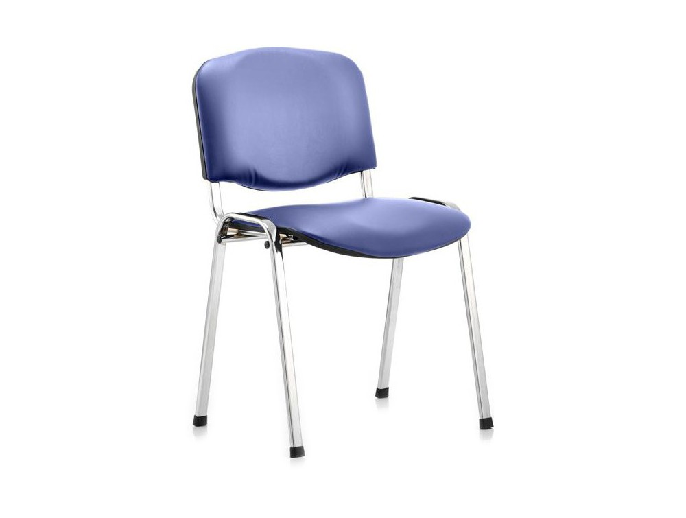 Dynamic ISO blue vinyl stackable chair with chrome legs