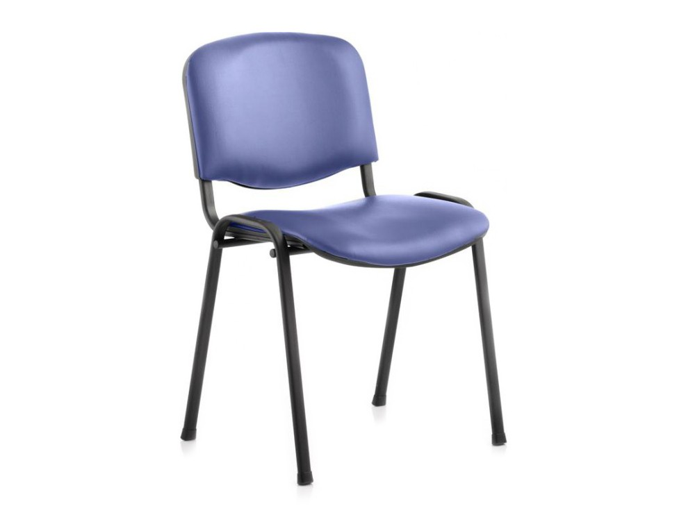 Dynamic ISO blue vinyl stackable chair with black legs