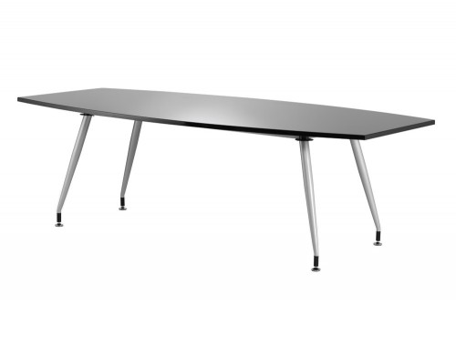 2400mm width dynamic boardroom black table in high gloss