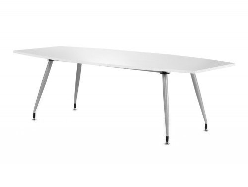 2400mm width dynamic boardroom white table in high gloss