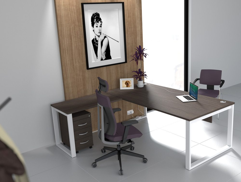 Dark Walnut Closed Leg Switch Desk with Purple Chairs