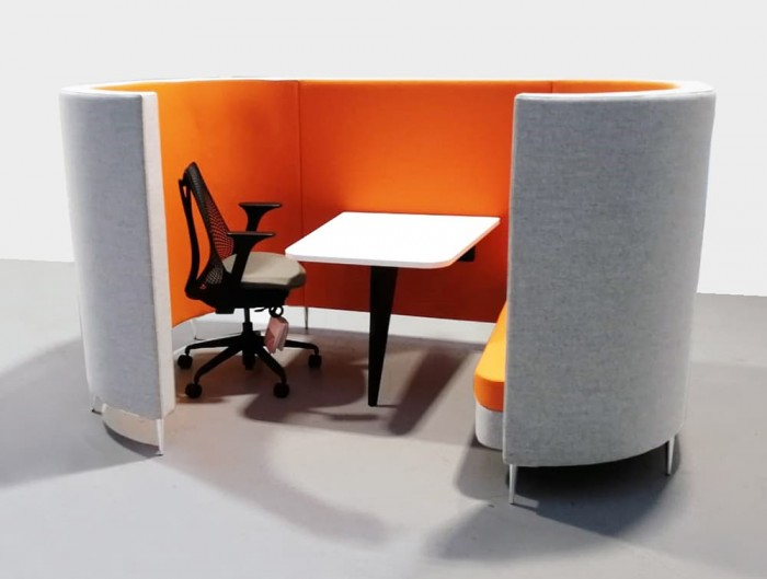 Delia-4-Seater-Meeting-Den-with-Table-with-Orange-Interior-and-Grey-Exterior-and-One-Seat-and-One-Task-Chair.jpg
