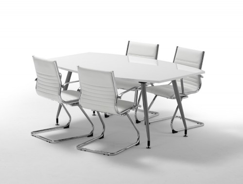 1800mm width dynamic boardroom white table in high gloss with 4 white cantilever chairs