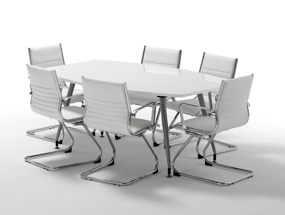 1800mm Width Dynamic Boardroom White Table In High Gloss With 6 Cantilever Chairs