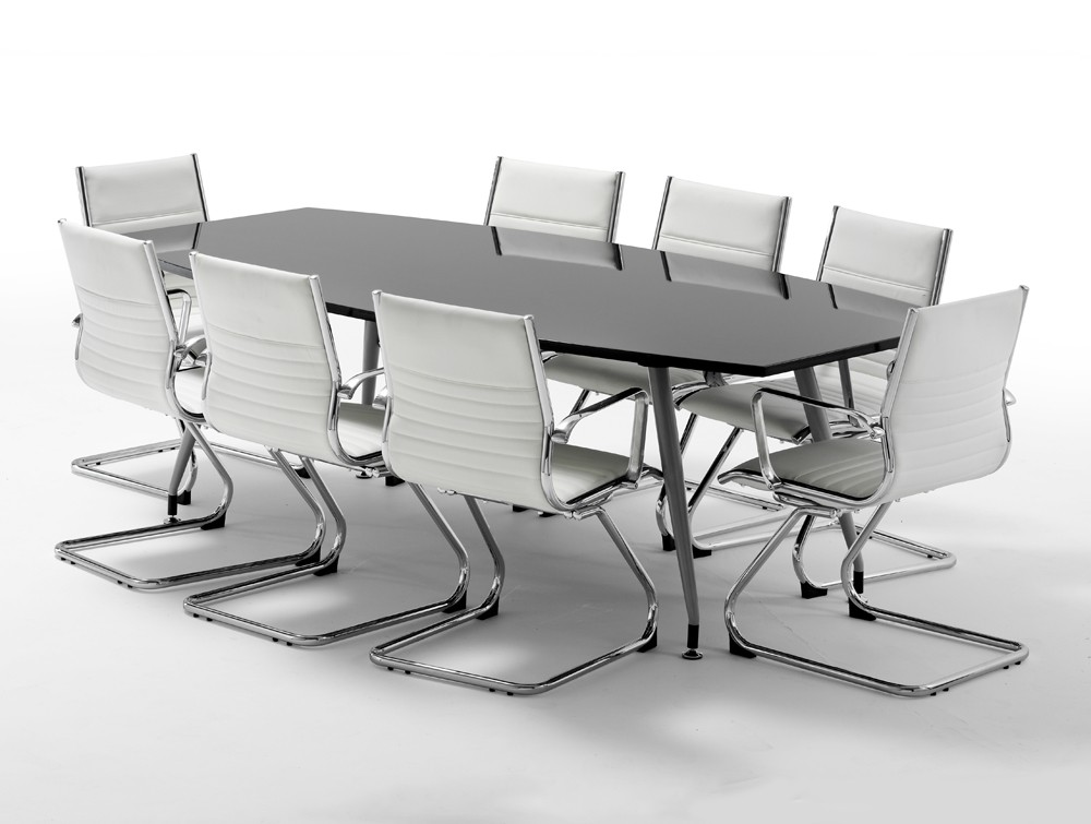 Dynamo Boardroom Table In High Gloss To Seater In Black - Black conference room table