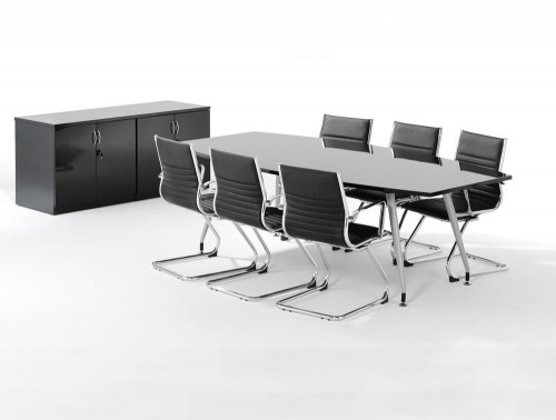 2400mm height dynamic boardroom table and credenza top in high gloss with 6 black cantilever chairs