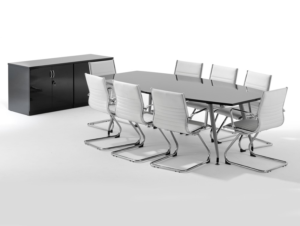 Dynamo Boardroom Table In High Gloss To Seater In White - 8 seater conference table