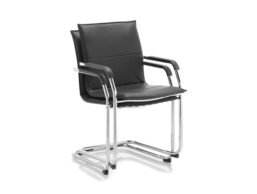 Two stacked black dynamic echo cantilever chairs