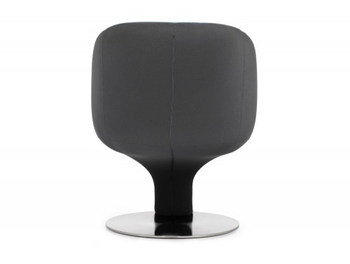 Dynamic tulip tub chair in black and blue fabric back angle