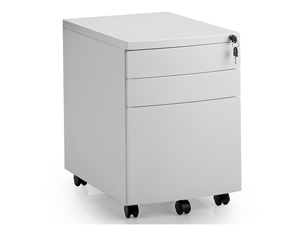 Dynamo mobile pedestal with lockable drawers in white for Mobile furniture