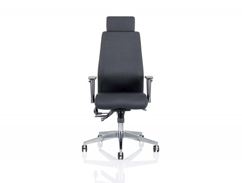 Dynamo-Onyx-Posture-Office-Chair-With-Headrest-in-Black-Front