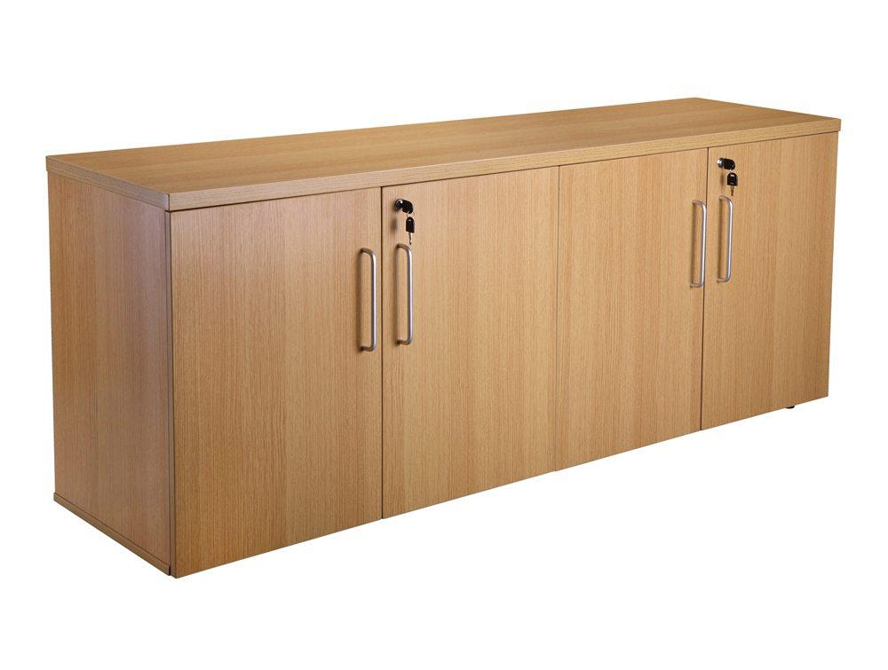 Elite 4 Door Credenza Unit with Shelves - Oak