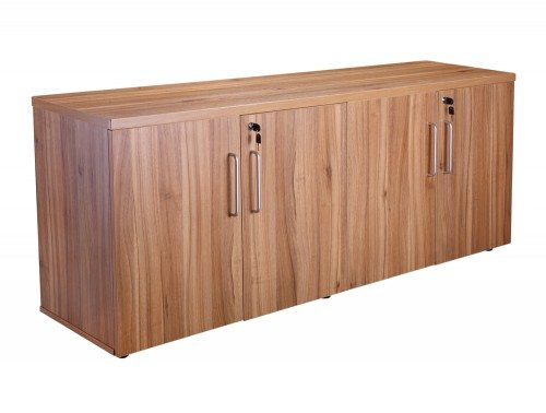 Elite 4 Door Credenza Unit with Shelves in Walnut