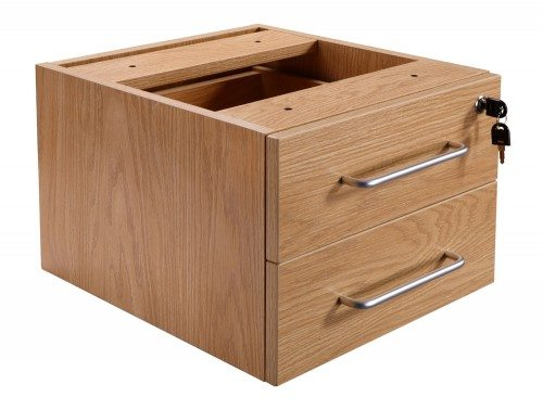 Elite Return Unit Fixed 2 Drawer Pedestal in Oak