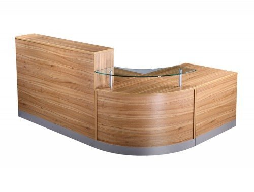 Elite 3-Section Curved Corner Reception Unit in American Black Walnut