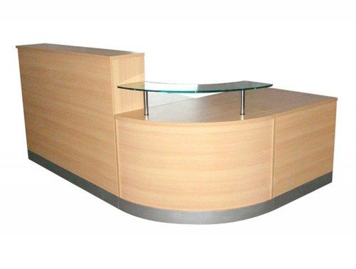 Elite 3-Section Curved Corner Reception Unit in Light Oak