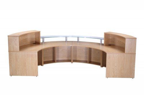 Elite 4-Section Semi Circle Reception Unit in Oak Back Angle