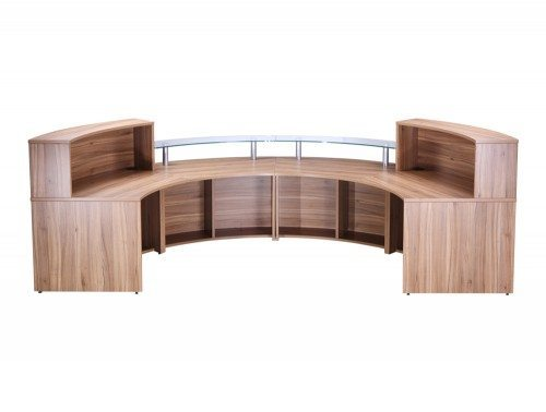 Elite 4-Section Semi Circle Reception Unit in Walnut Back Walnut