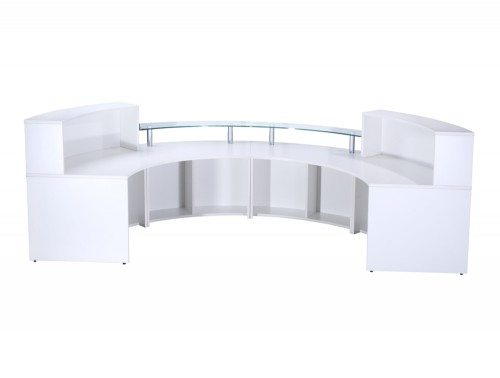 Elite 4-Section Semi Circle Reception Unit in White Back Angle