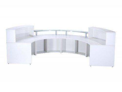 Elite 4-Section Semi Circle Reception Unit in White Back Angle