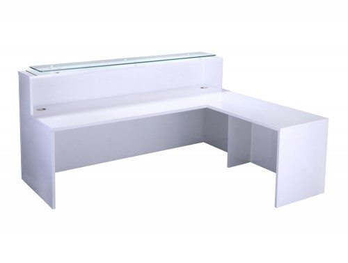 Elite High-Gloss Right-Angled Reception Unit with Glass Top and Return in White