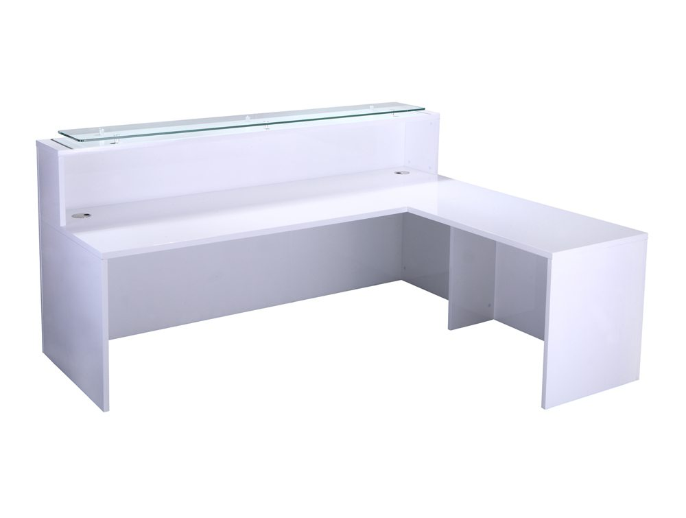 Elite High Gloss Right Angled Reception Unit With Glass Top And Return In White