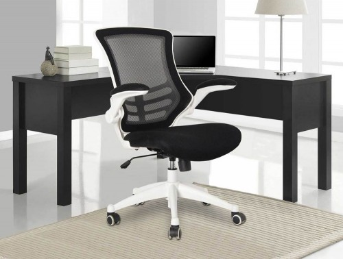 Eliza Tinsley Luna Designer Mesh Chair with White Shell and Folding Arms in Black with Table in White Interiors
