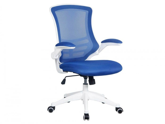 Eliza Tinsley Luna Designer Mesh Chair with White Shell and Folding Arms in Blue